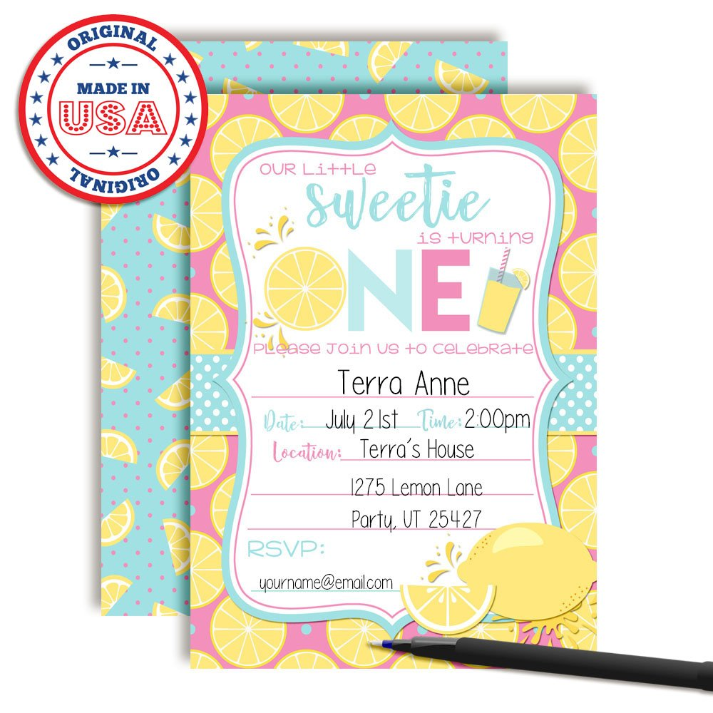 Lemon Sweetie First Birthday Party Invitations Ten 5x7 Fill in Cards with 10 White Envelopes by AmandaCreation Ten 5x7 Fill in Cards with 10 White Envelopes by AmandaCreation Amanda Creation