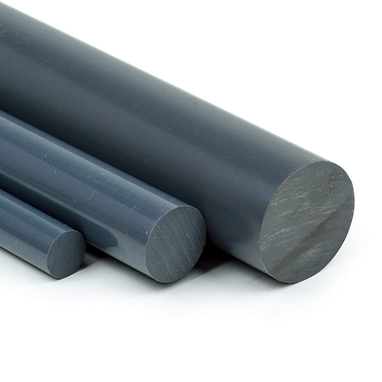 PVC-U Kunststoffstab auf Zuschnitt L: 75mm PVC Rundstab grau /Ø 40mm 7,5cm