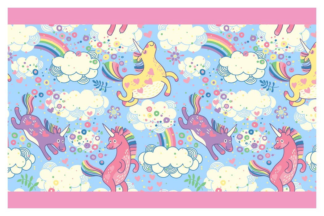 'I-love-Wandtattoo B 14 cm Colourful Unicorn with Rainbow Girl Wall Border for Children's Room Decorative Wall Stickers Wall Stickers - Höhe: 15 cm; Breite: 5 m