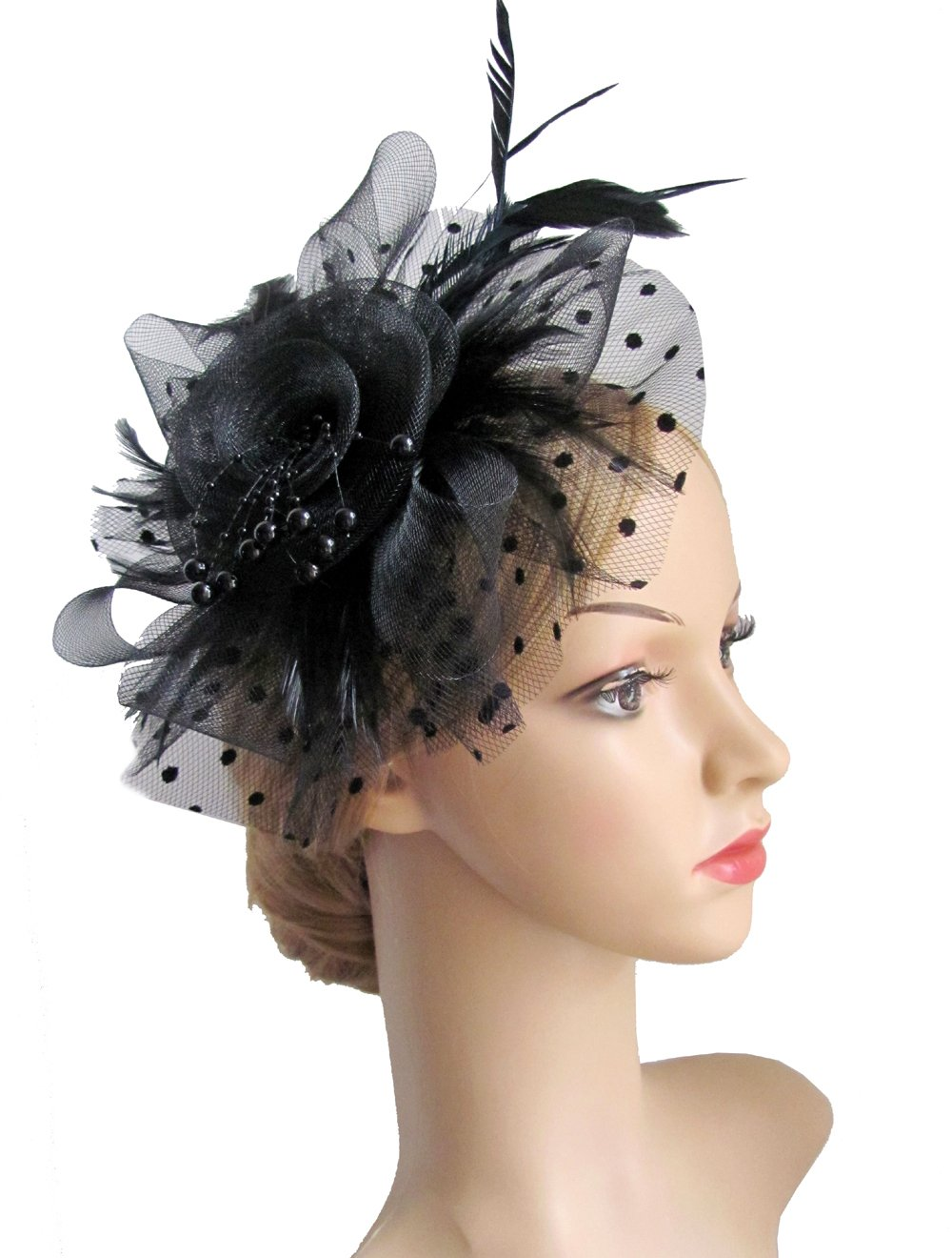 Flower Cocktail Tea Party Headwear Feather Fascinators Top Hat for Girls and Women (Black)