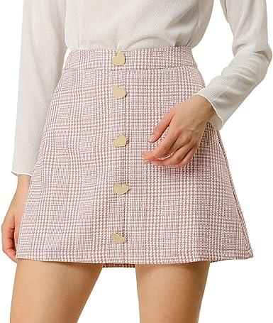 Allegra K - Mini falda de pata de gallo, cintura alta, línea A ...
