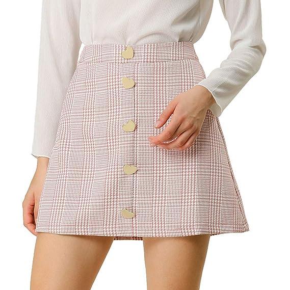 Allegra K Mini Falda de Cintura Alta con Botones de corazón y Pata ...
