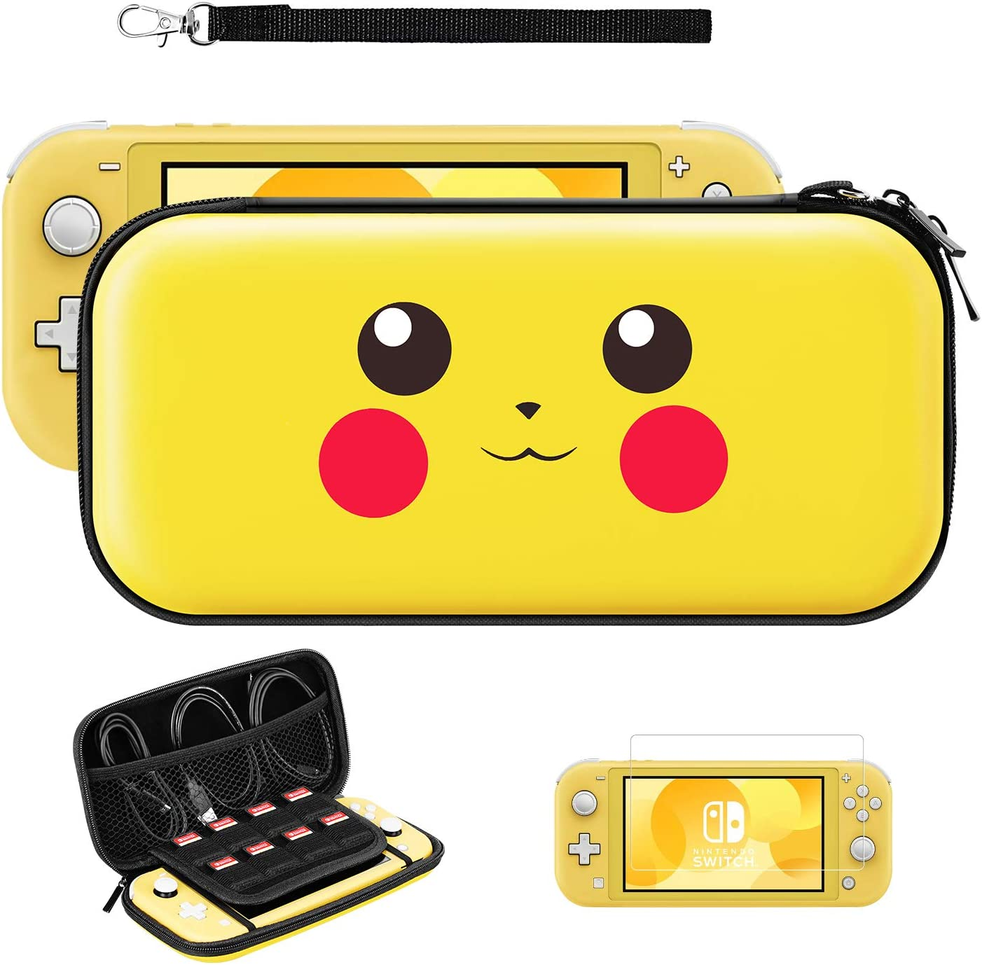 JINGDU Carrying Case for Nintendo Switch Lite,3 in 1 Protective Portable Hard Shell Storage Bag with 8 Game Card Slots,Travel Cover Bag Set Include Screen Protector & Hand Strap