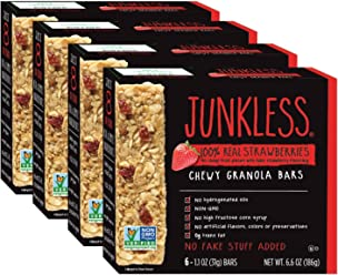 Junkless Chewy Granola Bars, 100% Real Strawberries, 1.1 oz, 6 Bars (4 Count)
