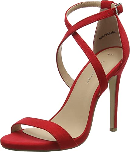 red strappy heels uk