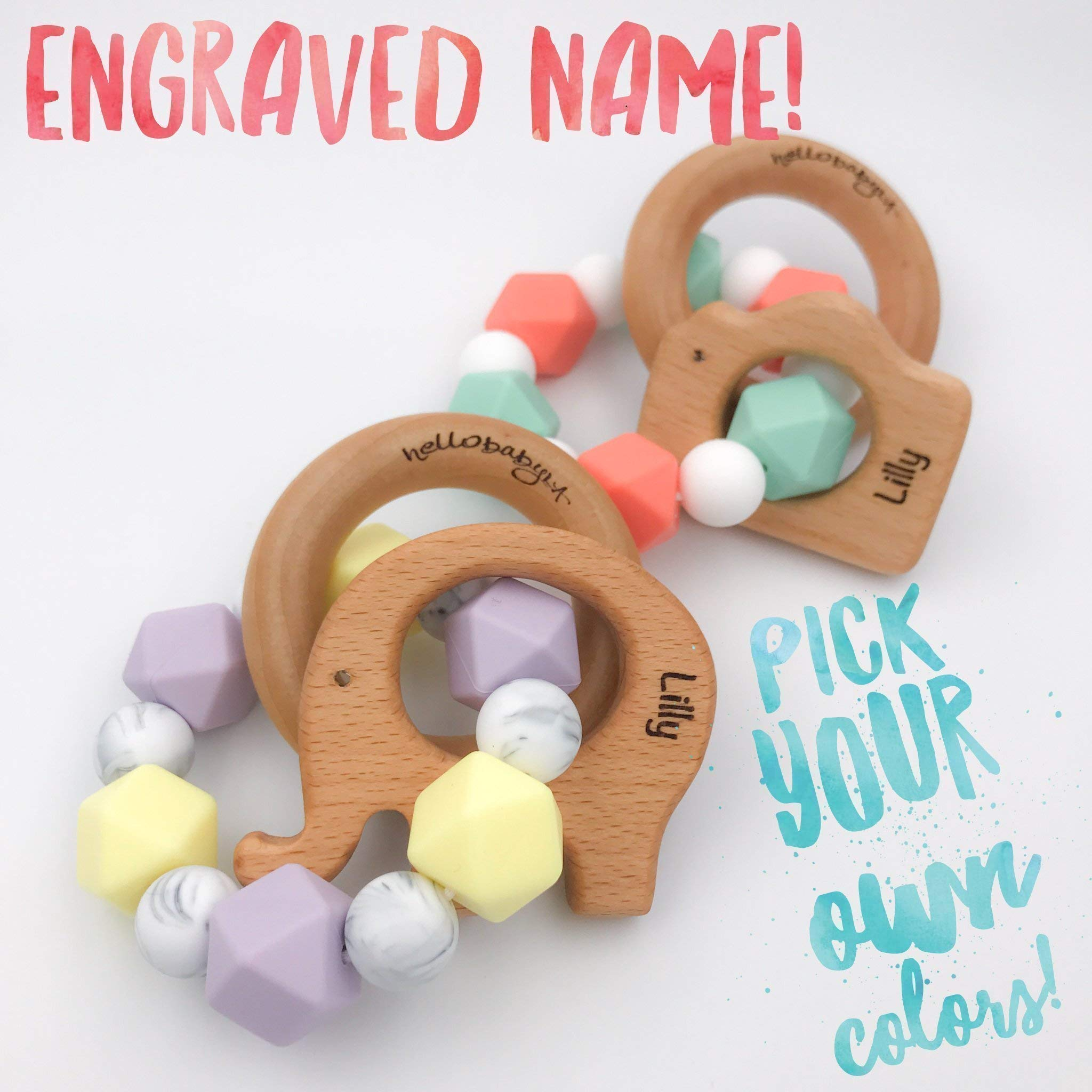 ENGRAVED Personalized & Customized Animal Teether Rattle (Choose Your Colors/Animal!) | Bird Elephant Camera Heart Bunny Fish Whale Hedgehog Giraffe Star | Boy Girl Gender Neutral Baby Teething Gift |