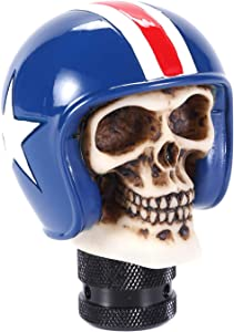 Bashineng Automatic Car Stick Shift Handle, Skull Soldier Style Gear Shifter Knob Fit Most Manual Transmissions (Blue)
