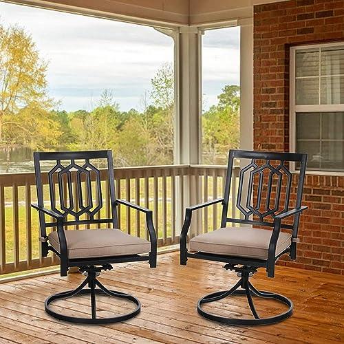MFSTUDIO Outdoor Swivel Chairs Set of 2