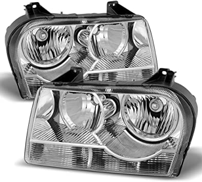 For Chrysler 300 OE Replacement Black Halogen Type Headlights Driver//Passenger Head Lamps Pair New