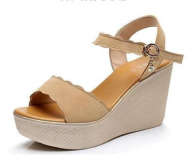 8f6508ed96cc DANDANJIE Women s Shoes Microfibre Summer Comfort Sandals Wedge Heel Peep  Toe for Office   Career Size