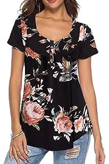 18804533d Dasbayla Women's Solid Loose Short Sleeve V Neck T-Shirt Top Side ...