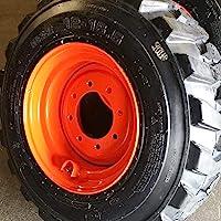Set of Four (4) 10x16.5 Skid Steer Loader Tire with Orange Color Rims mounted, 14 PLY, NHS SKS 400