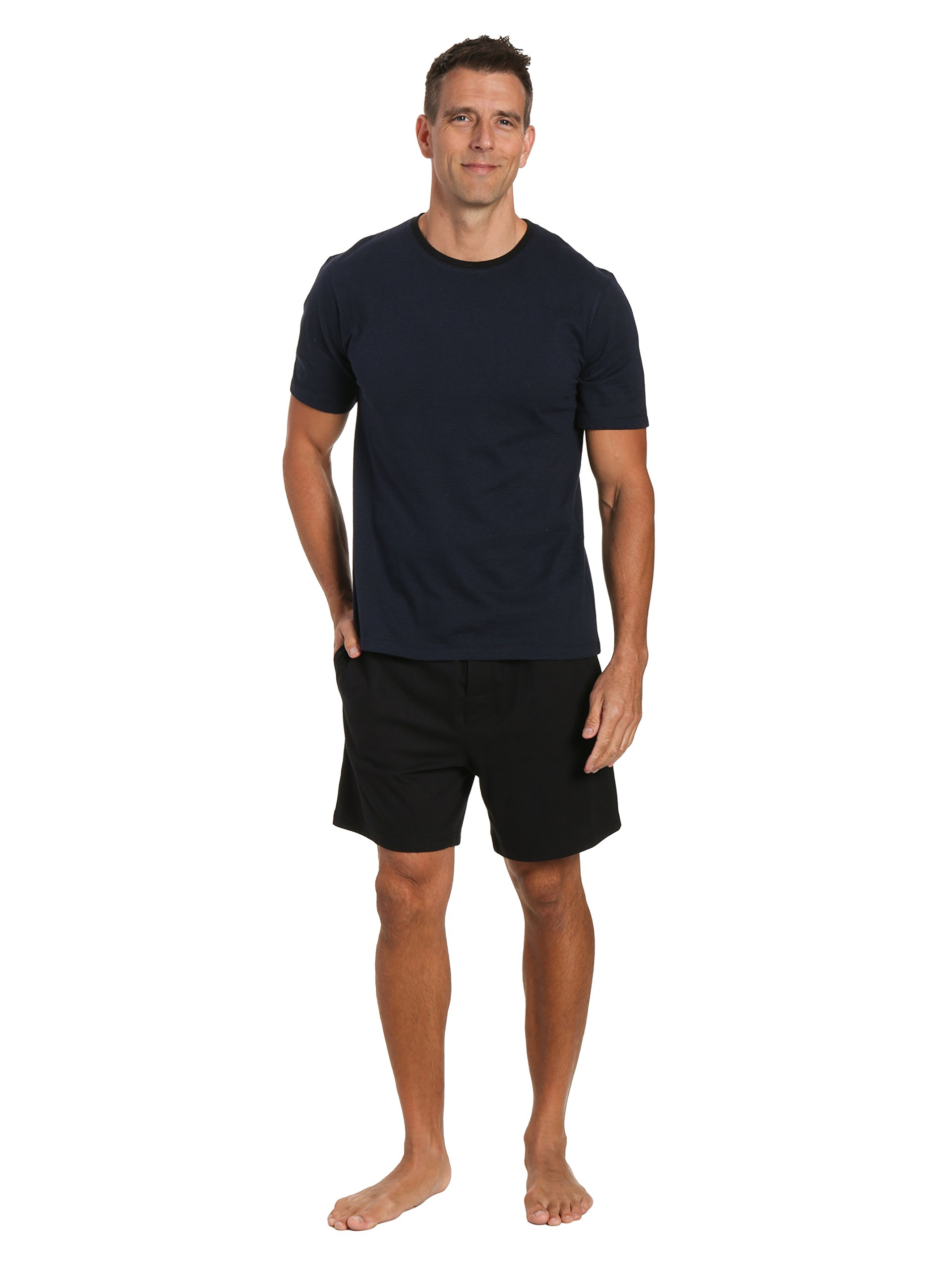Twin Boat Mens Knit Short Lounge Set - Black Short with Stripe Navy Top - Large