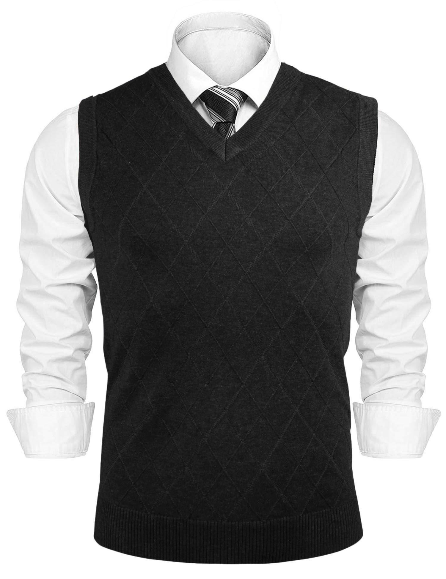 Aibrou Men's V-Neck Argyle Sweater Vest Sleeveless Knit Pullover (L,Black) by Aibrou