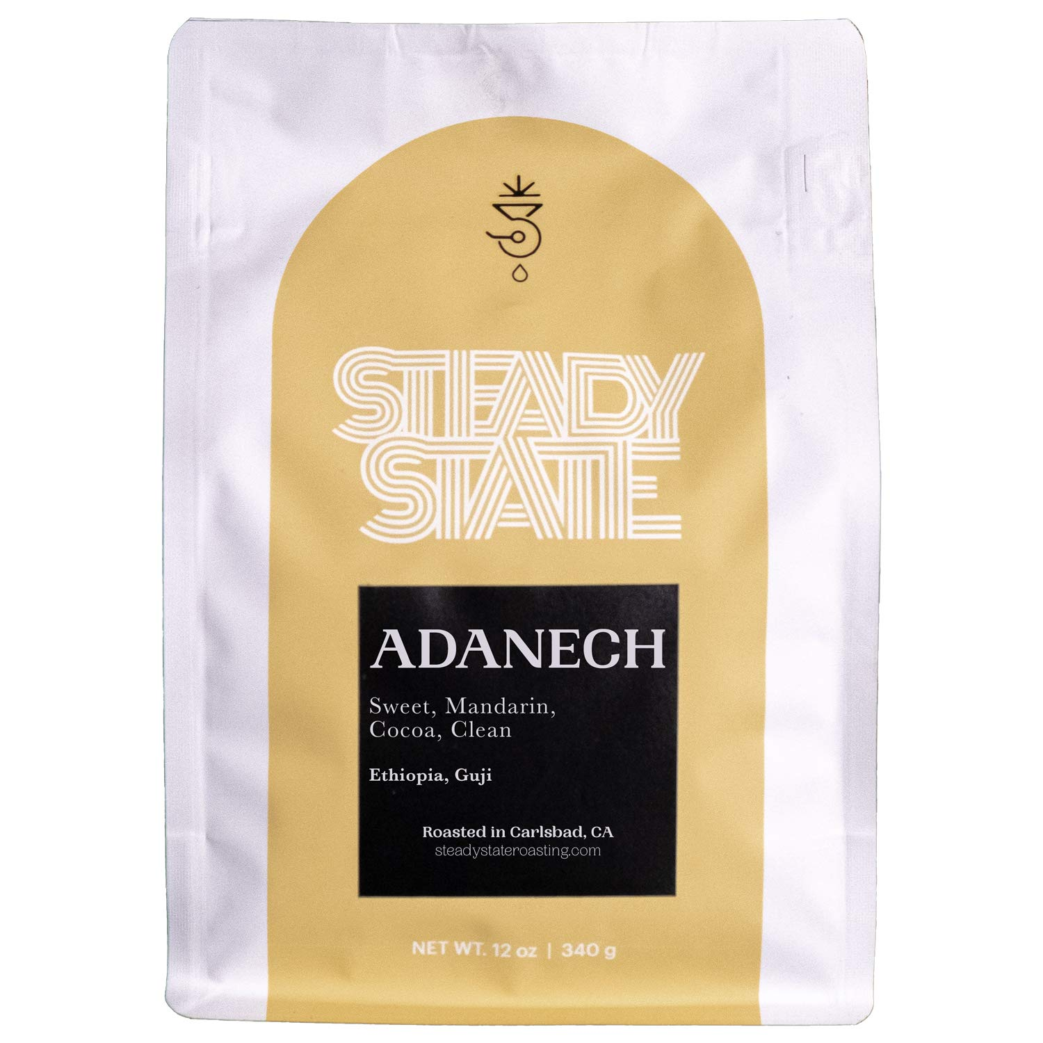 Whole Bean Coffee, Light Roasted Ethiopian Coffee, Adanech 12oz Coffee Bag,Natural, Blueberry, Sweet Mandarin, Guji Coffee Beans by Steady State Roasting