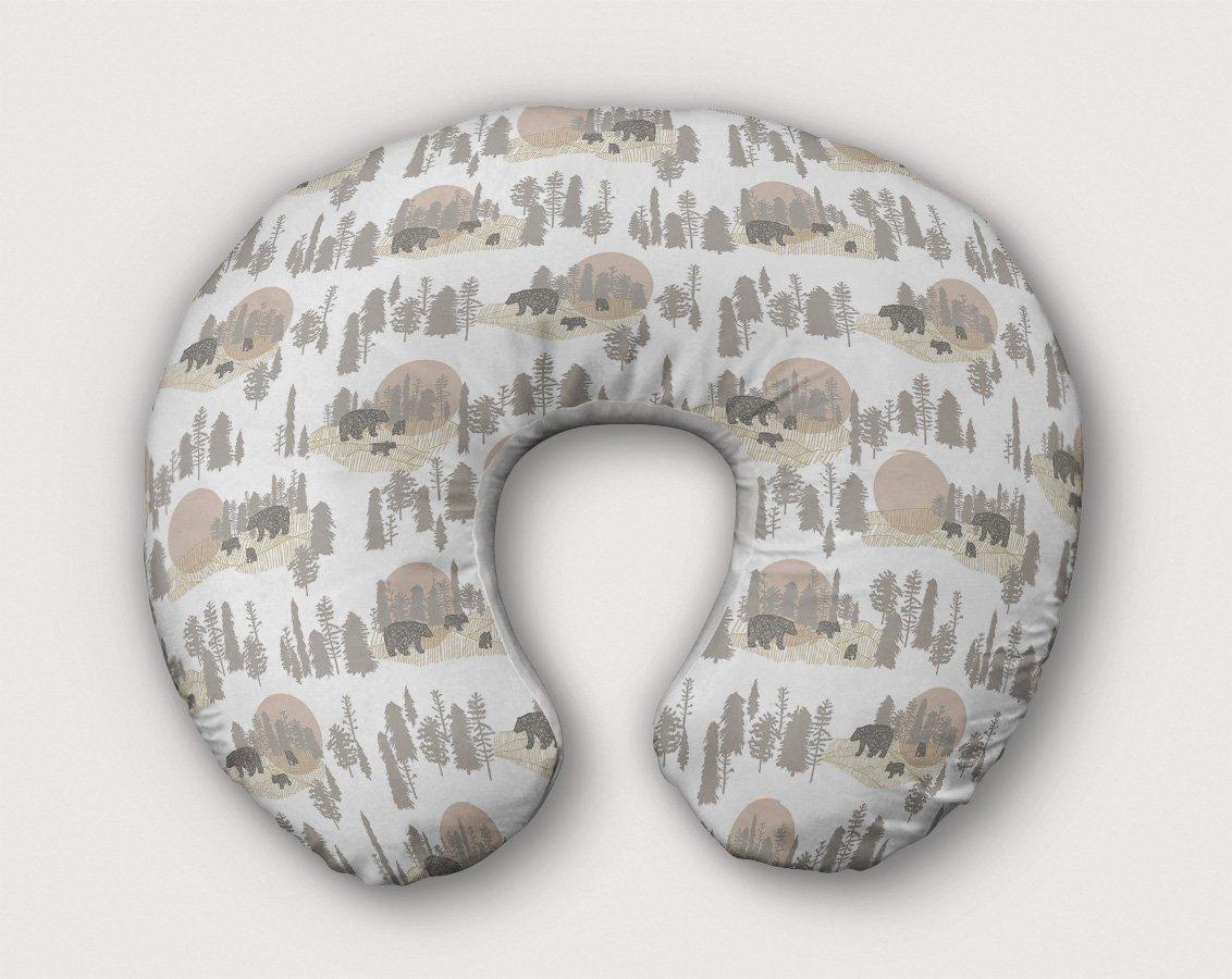 Bears Nursing Pillow Slipcover Woodland Nursery Pink Handmade From NonToxic USA Cotton/Minky