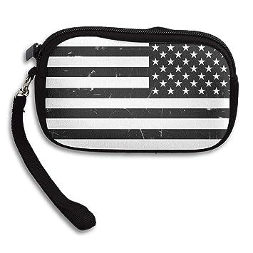 Amazon.com: Monedero negro bandera estadounidense con ...