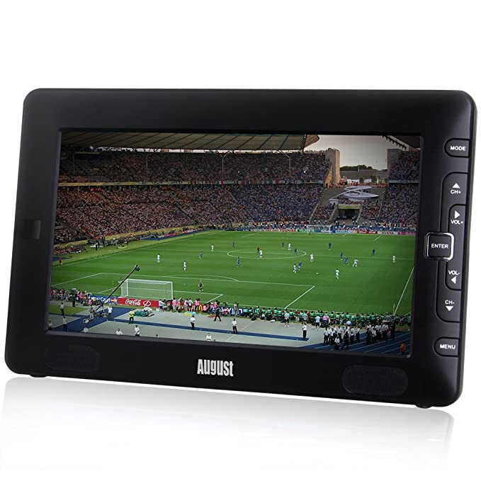 """August DTV905 – 9"""" Portable Freeview TV – Small Screen LCD Television with Multimedia Player – Digital TV for Bedroom, Kitchen, Caravan… – Battery (Internal) or Mains Powered"""