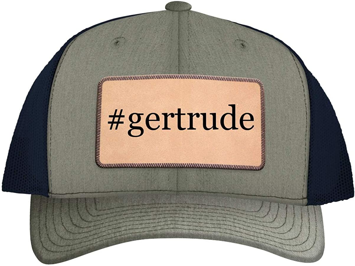 One Legging it Around #Gertrude - Leather Hashtag Light Brown Patch Engraved Trucker Hat 71xNN1ImozL