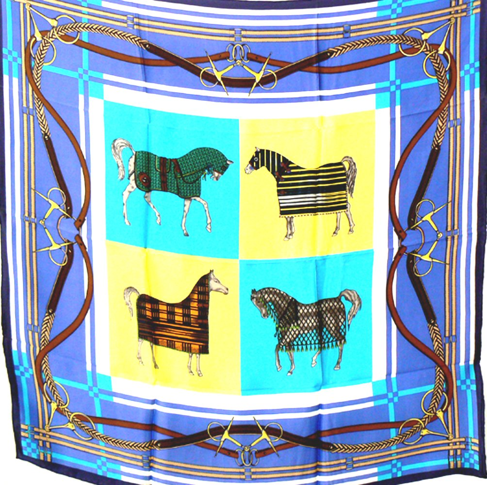 100% Heavy Luxurious Charmeuse Silk Scarf Shawl Wrap Equestrian A84