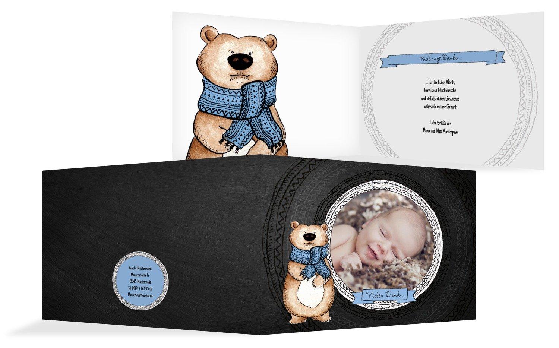 Kartenparadies Danksagung für Geburt Baby Dankeskarte Vintage Bär, hochwertige Danksagungskarte Baby inklusive Umschläge   100 Karten - (Format  148x105 mm) Farbe  MattBlau B01MRBYQTN | Einfach zu bedienen  | Haltbarkeit  | Bekannt für se