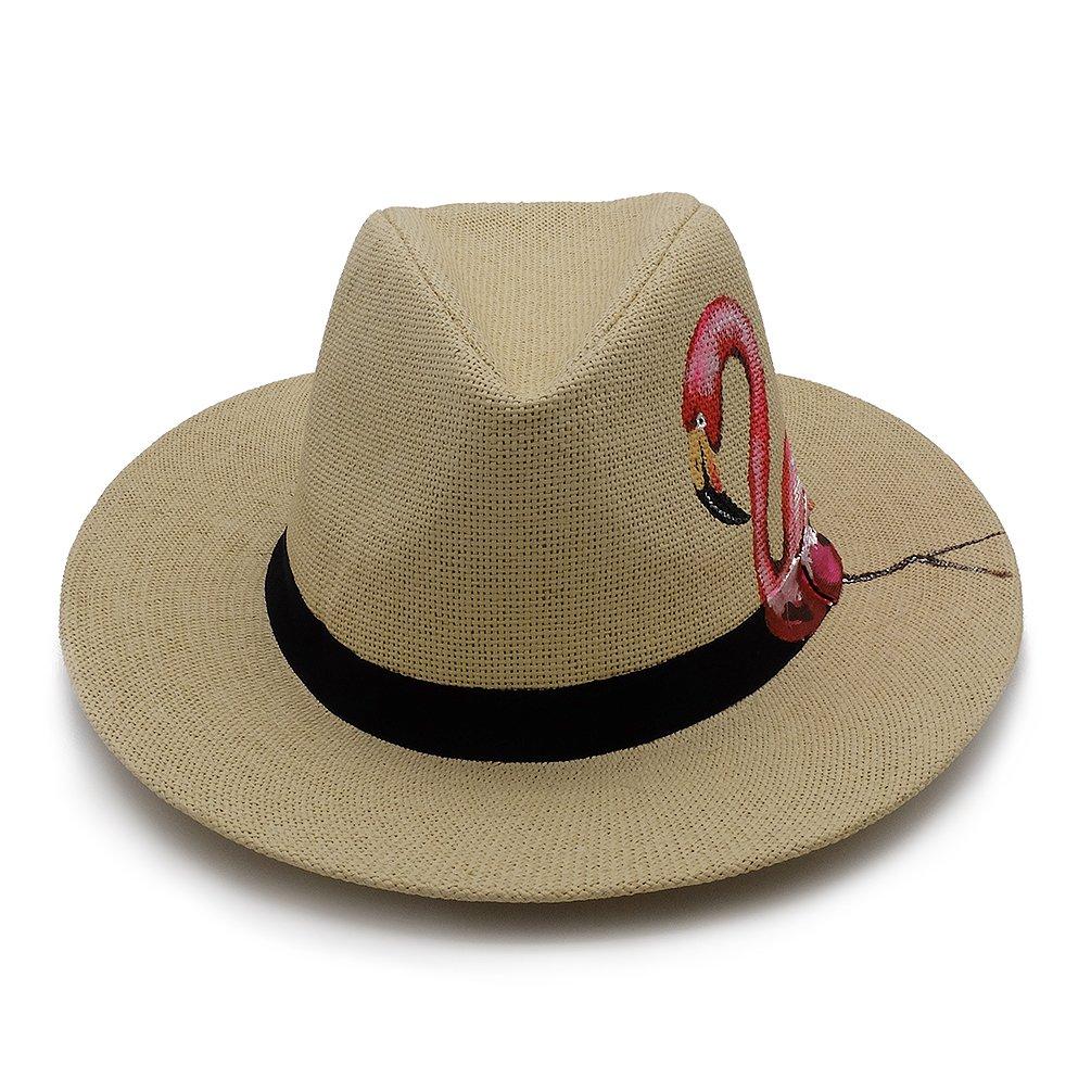 d6877db1 Amazon.com: Panama Straw Hat, Sun Block UV Proof Sunhat Travel Beach  Seaside Cap Hand Drawing Panama Hats for Men and Women -Flamingo: Clothing