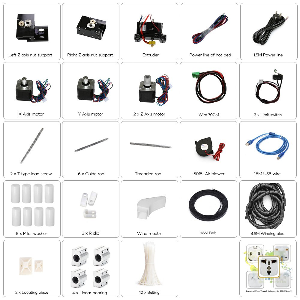 Shipping from China//Hong Kong Linux Support Metal Multiple Filaments ANET A6 DIY 3D Printer Kit Acrylic Frame 100MM Per Second Print Speed Windos Mac