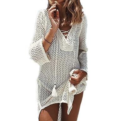 Bikini Cover Up ININUK Bikini Tunika Bluse Strandkleid Damen Push Up  Strandponcho Sommer Kleid Bikini Überwurf Kaftan Strick, Weiß,  Einheitgröße: Amazon.de: ...