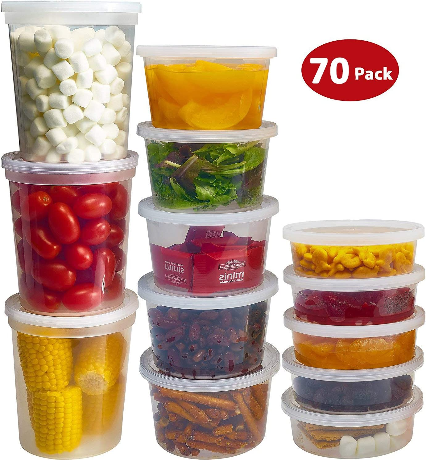DuraHome Food Storage Containers with Lids 8oz, 16oz, 32oz Freezer Deli Cups Combo Pack, 70 Sets BPA-Free Leakproof Round Clear Takeout Container Meal Prep Microwavable (70 Sets - Mixed sizes)