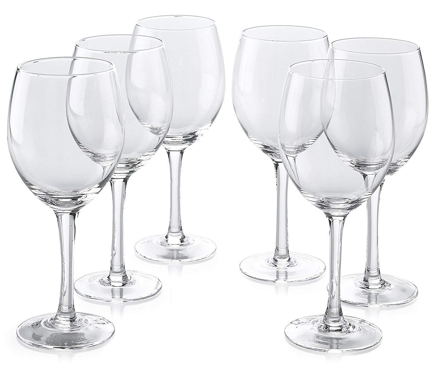 Classic Premium All Purpose Clear Wine Glasses Lead Free - Set Of 6 (14 Ounce) - Water Glass with Stem