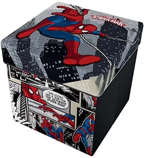 Captivating Star Licensing Marvel Spiderman Storage Stool With Cushion, Polyester,  Multicoloured, 32 X 32