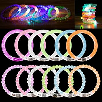 ANBET 12 Pack de Pulseras LED, Pulsera de Destello de LED de ...