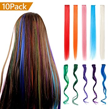 Amazon.com : IEKA 10PCS Colored Clip in Hair Extensions, 20 Inch ...