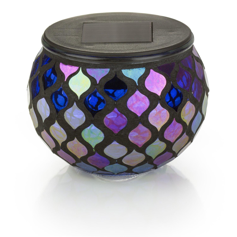 Solar Mosaic Glass LED Decorative Table Light (Iridescent Blue)