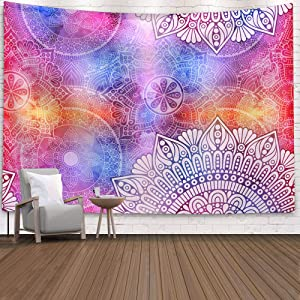 Indian Bohemian Psychedelic Peacock Mandala Tapestry Wall Hanging, Tapestry Dorm Decor for Living Room Bedroom (Colorful Sunflower-1)