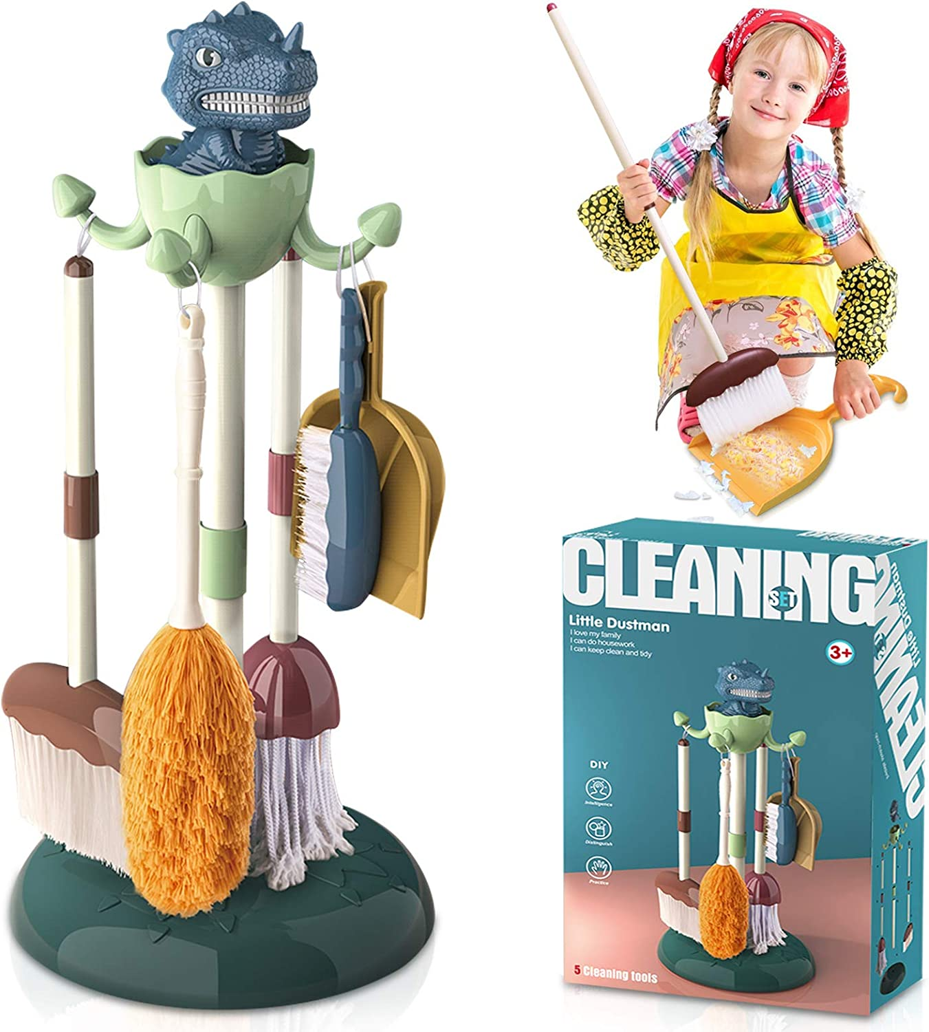 Dinosaur Station Kids Cleaning Set Small Broom and Dustpan Set 6-in-1 Cleaning Tools Pretend Play Activities Housekeeping Toys for Toddler Boys and Girls (Frustration Free Packaging)