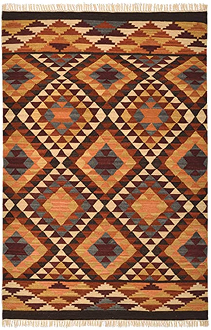 Second Nature Alwar géométrique Laine Kilim Tapis - Marron ...
