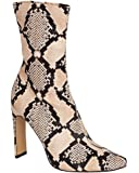 shelikes Womens Ladies Nude Snake Print Faux Leather Pointed Toe Heel Ankle Fashion Party Boots