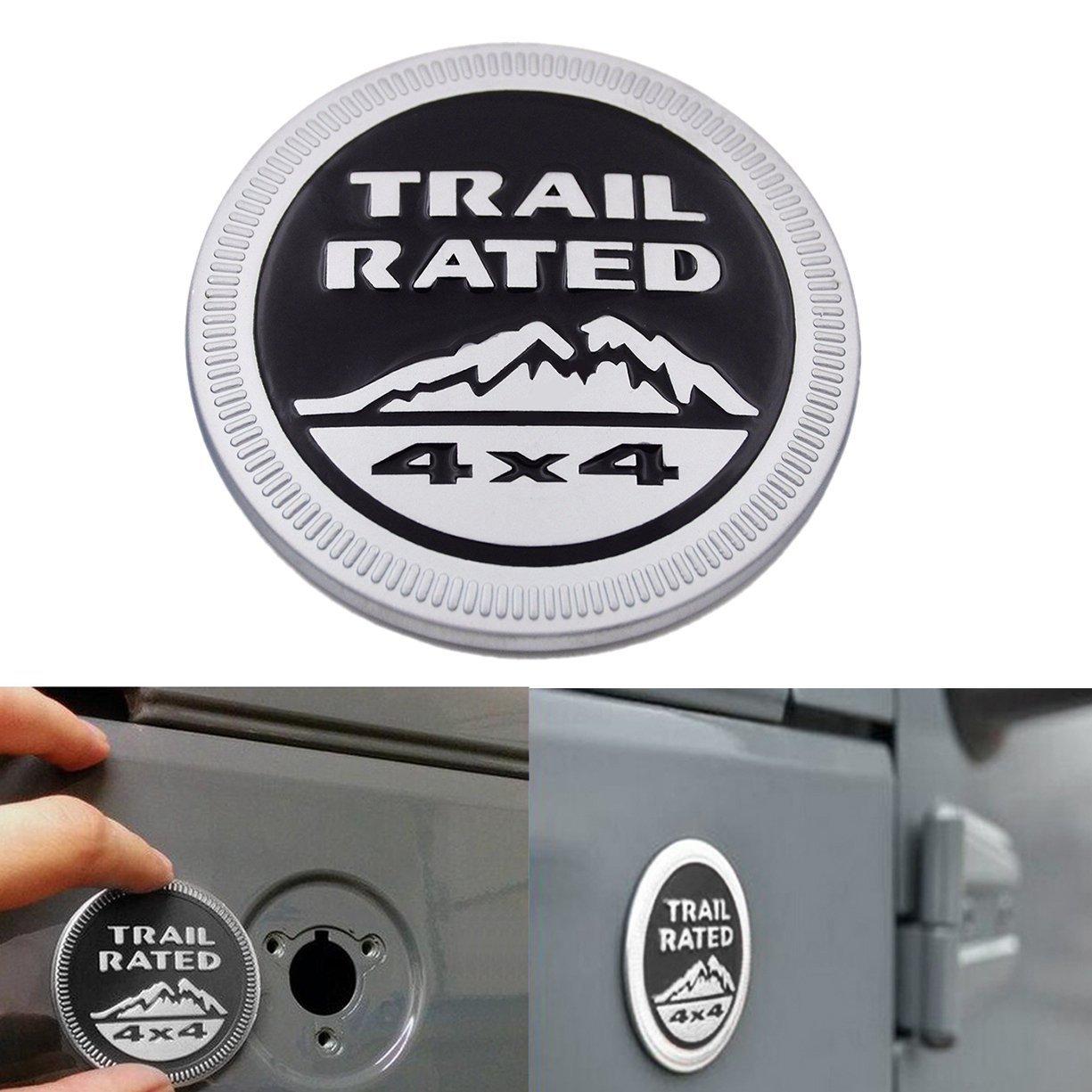 Targhetta per Auto, Tracolla in metallo Rated 4x4 Round Badge Mountain Posteriore laterale posteriore Tailgate Hatch Sliver Suparee