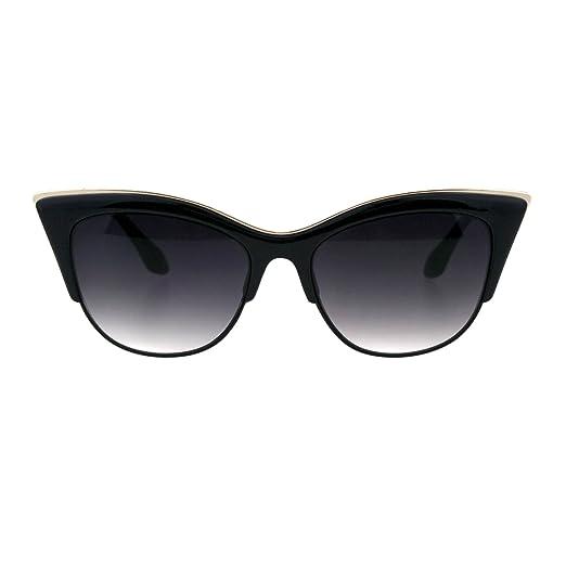 fb392f04c77dc SA106¨ Womens High Point Squared Half Rim Look Cat Eye Sunglasses (Black