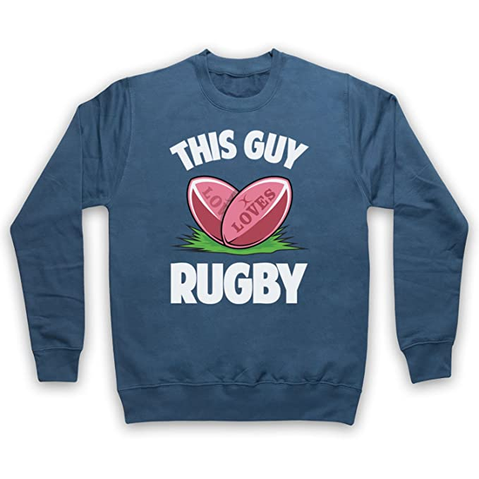 My Icon Art & Clothing This Guy Loves Rugby Rugby Slogan Adultos Sudadera, Azul Fuerza