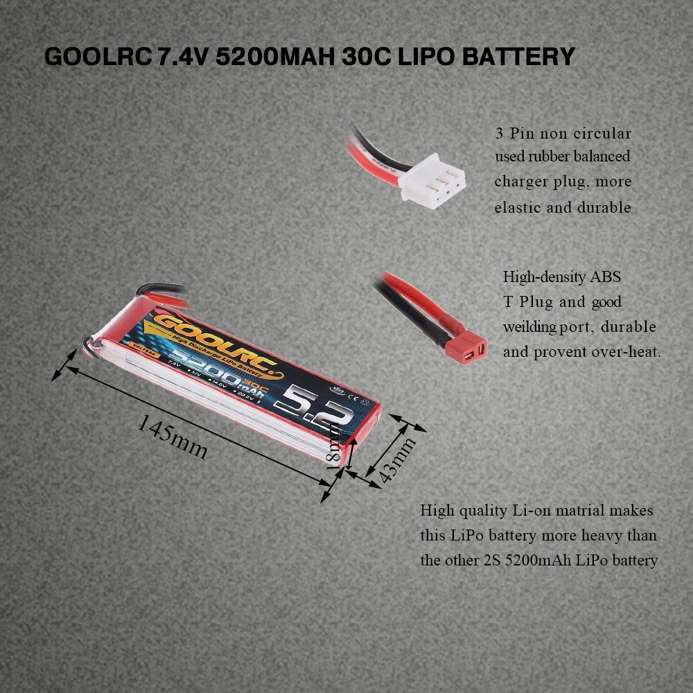GoolRC Batteria Lipo 30C 7.4V 5200mAh 2S con spina T per RC Car Boat Truck