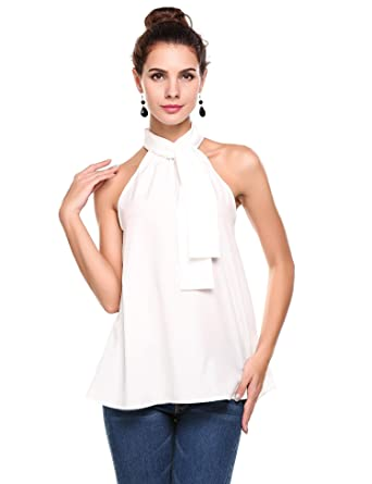1f0bb6329c769a Meaneor Women's Summer Chiffon Sleeveless Office Blouse Tank Shirt Halter Neck  Tie Back Solid Tops White