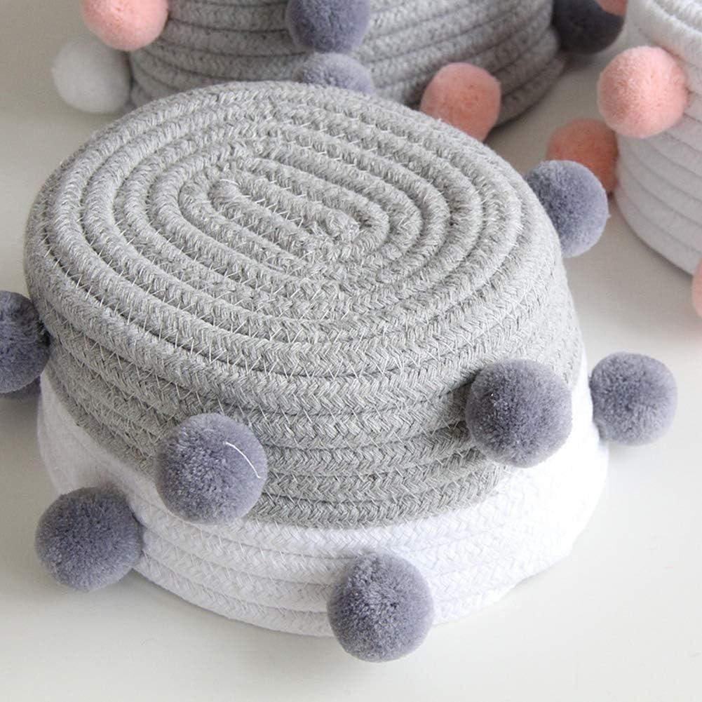 Wongfon Cotton Rope Basket Woven Round Hamper Baby Nursery Storage Box Home Decor Desk Shelf Organizer with Pompoms
