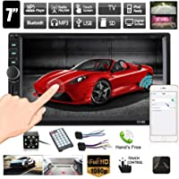 Double Din Car Stereo, Ewalite 7 inch Touch Screen In Dash Car Radio Receiver Audio Video Player Supports Bluetooth FM Mp3 MP5/TF/USB/AUX/Subwoofer with Rear View Camera + Remote Control