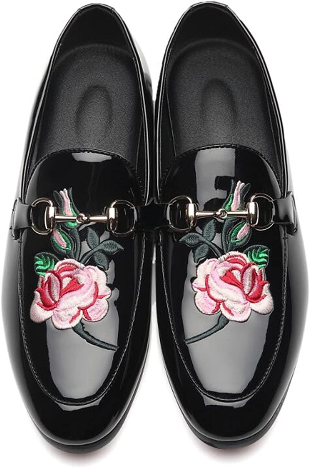 Mens New Embroidery Fashion Slip-on Loafers Patent Leather Shoes Tuxedo Dress Shoes