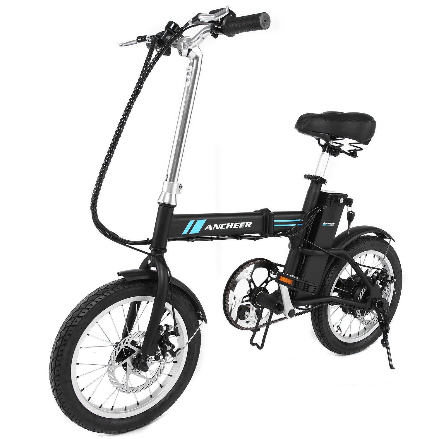 """Ancheer 16"""" Folding Electric Bike With 36V 6Ah Lithium Battery, 250W Powerful Brushless Gear Motor (Black)"""