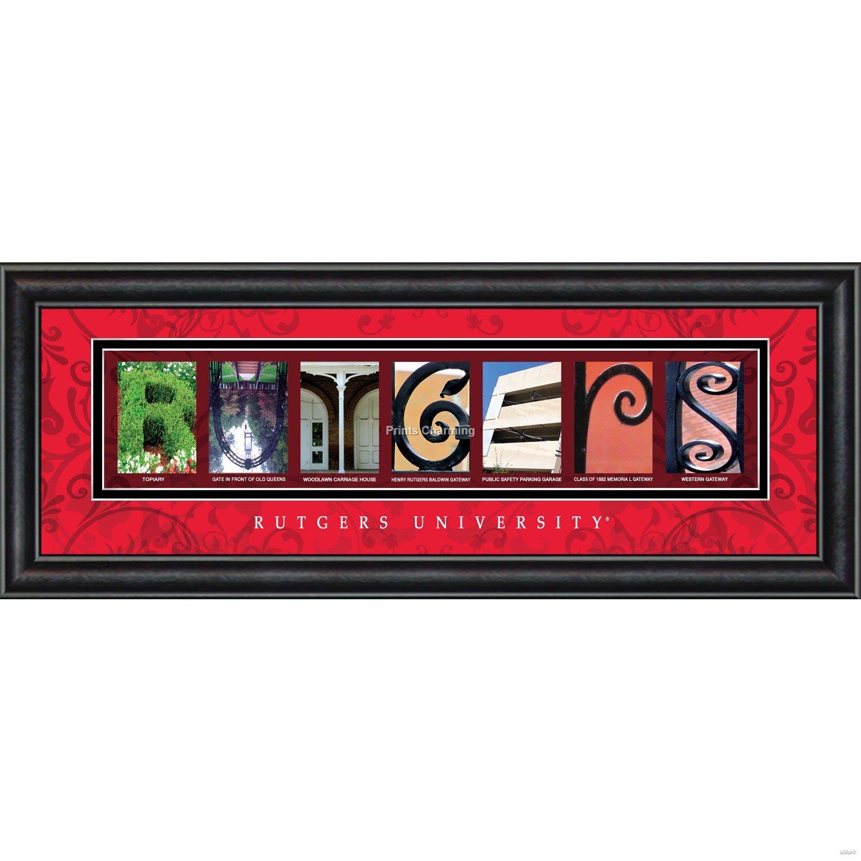 Prints Charming Letter Art Framed Print, Rutgers University-Rutgers, Bold Color Border