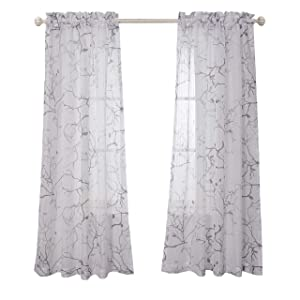 MYSKY HOME Leaves Fashion Design Print Striped White Sheer Curtains with Rod Pocket for Living Room, 52 by 84 inch, Grey, 2 Curtain Panels