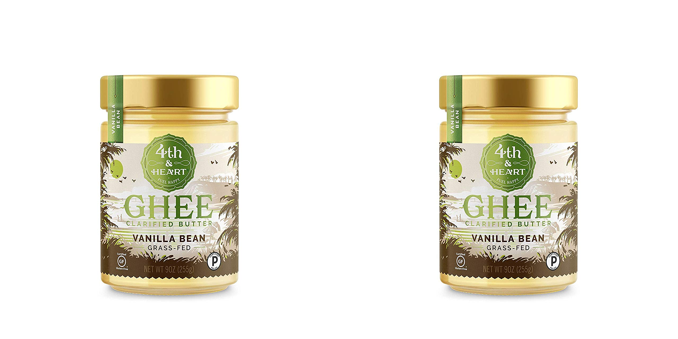 Vanilla Bean Grass-Fed Ghee Butter by 4th & Heart, 9 Ounce, Pasture Raised, Non-GMO, Lactose Free, Certified Paleo, Keto-Friendly - 2 Pack
